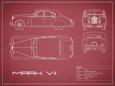 Jaguar Mk Vii Blueprint - Red Poster