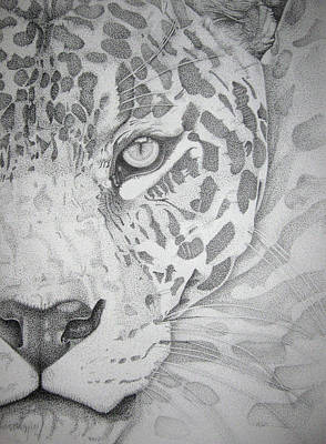Poster featuring the drawing Jaguar Pointillism by Mayhem Mediums