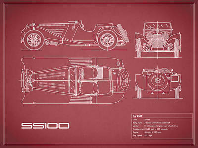 Jaguar Ss 100 Blueprint - Red Poster