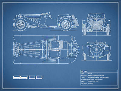 Jaguar Ss100 Blueprint Poster by Mark Rogan