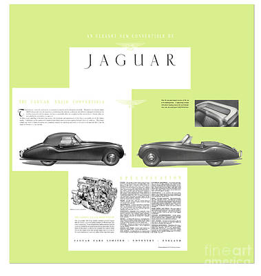 Jaguar Xk 120 Convertible Six Cylinder 160bph Engine Double Overhed Camshaft Classic Car Poster by R Muirhead Art