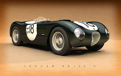 Jaguar Xk120-c Poster by Pete Chadwell