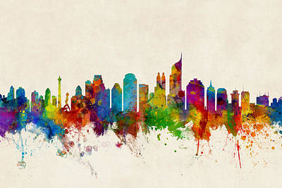 Jakarta Skyline Indonesia Bombay Poster