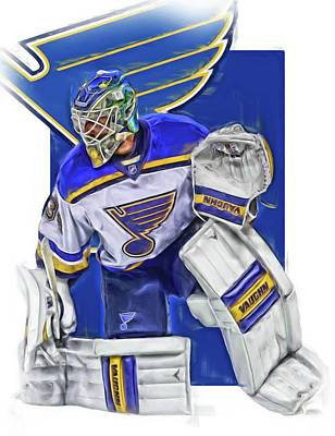 Jake Allen St Louis Blues Oil Art Poster by Joe Hamilton