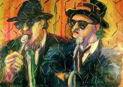 Poster featuring the painting Jake And Elwood by Les Leffingwell