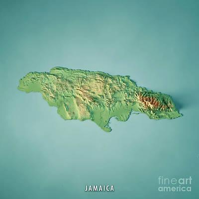 Jamaica 3d Render Topographic Map Poster
