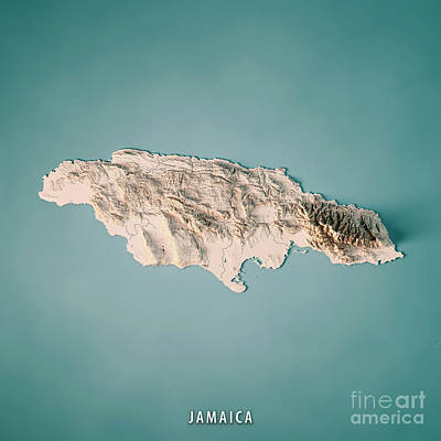 Jamaica 3d Render Topographic Map Neutral Poster