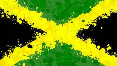 Jamaica Flag Paint Splatter Poster
