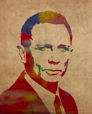 James Bond Daniel Craig Watercolor Portrait Poster by Design Turnpike