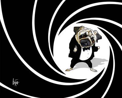 James Bond Pug Caricature Art Print Poster