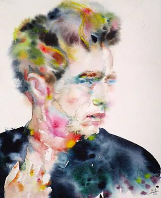 James Dean - Watercolor Portrait.2 Poster by Fabrizio Cassetta