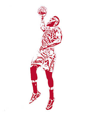 James Harden Houston Rockets Pixel Art 2 Poster by Joe Hamilton