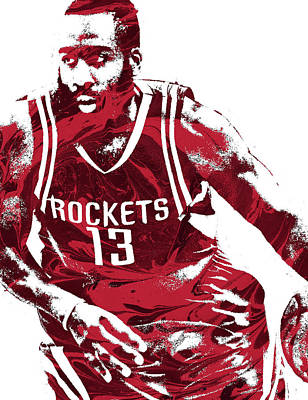 James Harden Houston Rockets Pixel Art 3 Poster by Joe Hamilton