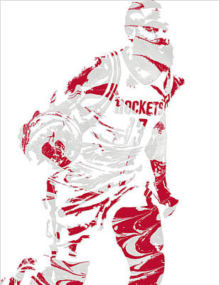 James Harden Houston Rockets Pixel Art 6 Poster by Joe Hamilton