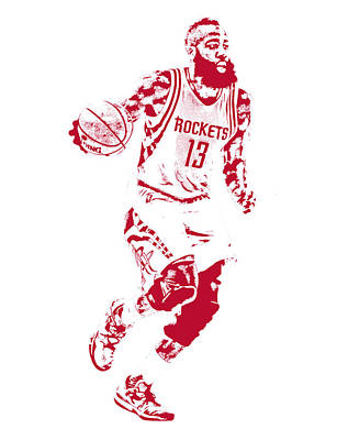 James Harden Houston Rockets Pixel Art Poster by Joe Hamilton