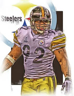 James Harrison Pittsburgh Steelers Oil Art Poster by Joe Hamilton