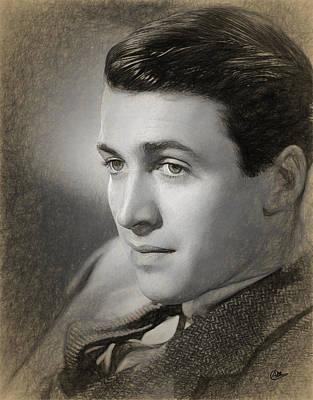 James Stewart Drawn Poster by Quim Abella