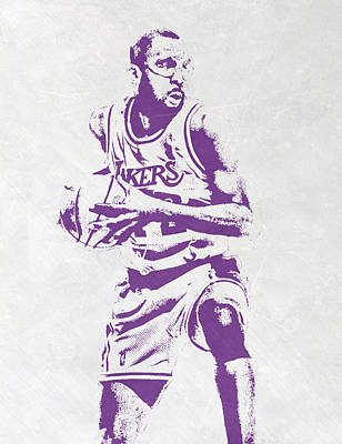 James Worthy Los Angeles Lakers Pixel Art Poster