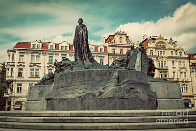 Jan Hus Memorial On The Old Town Square Of Prague, Czech Republic Poster
