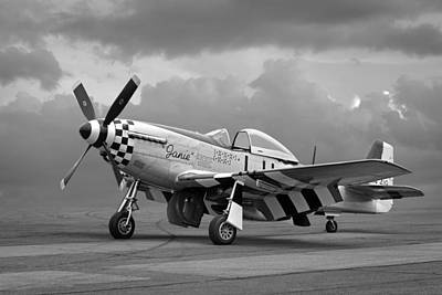Janie P-51 In Black And White Poster by Gill Billington