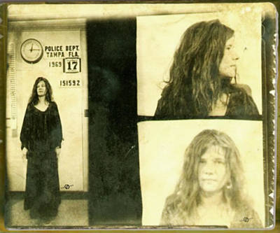 Janis Joplin Mug Shot 1969 Photo Gold Poster