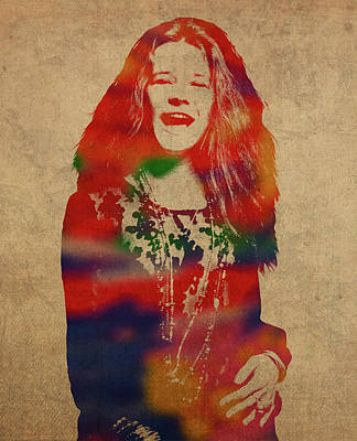 Janis Joplin Watercolor Portrait Poster