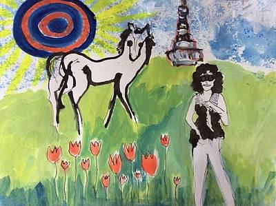 Janis Joplin With A Horse Poster by Radka Zimova King