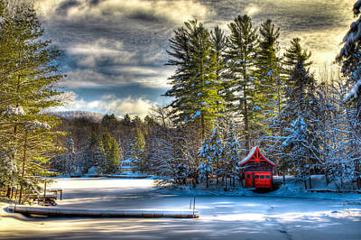 January Snow At The Red Boathouse Poster by David Patterson