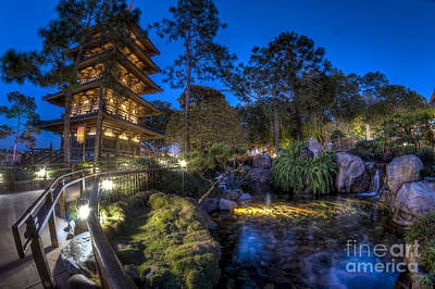 Japan Epcot Pavilion By Night. Poster
