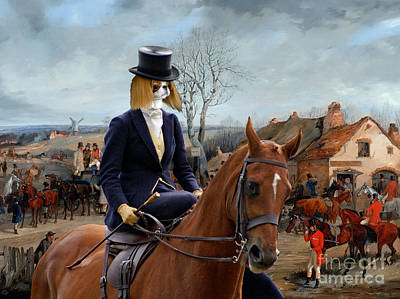 Japanese Chin Art Canvas Print - Hunting Scene And Noble Lady Poster