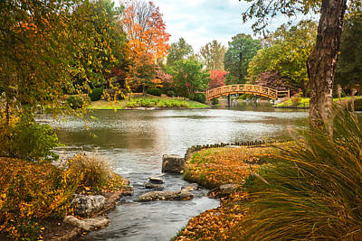Poster featuring the photograph Japanese Garden Bridge Fall by David Coblitz