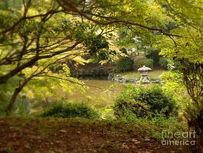 Japanese Garden In Kyoto Poster by Carol Groenen