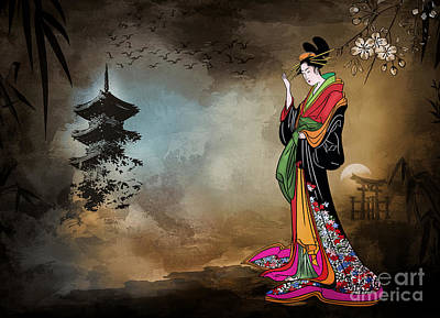 Poster featuring the digital art Japanese Girl With A Landscape In The Background. by Andrzej Szczerski