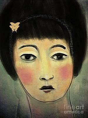 Poster featuring the digital art Japanese Woman With Butterflies by Alexis Rotella