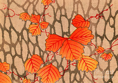 Japanese Woodblock Print Of Autumn Leaves Poster