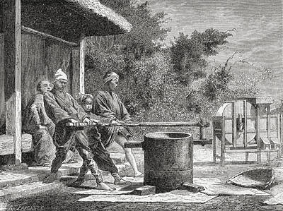 Japanese Workers Using A Rice Mill In Poster