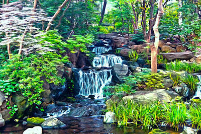 Japanese Waterfall Garden Poster by Scott Carruthers