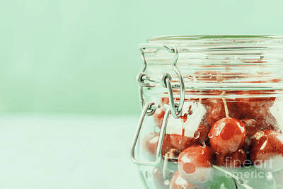 Jar Of Red Fresh Cherries On Turquoise Background Poster by Radu Bercan