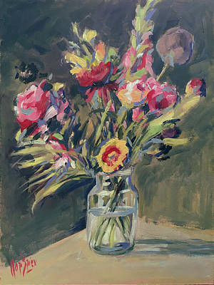 Jar Vase With Flowers Poster