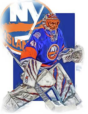 Jaroslav Halak New York Islanders Oil Art Poster by Joe Hamilton