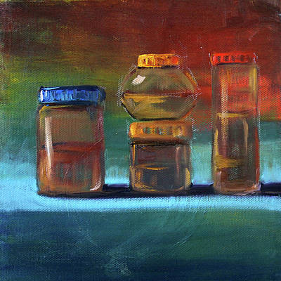 Poster featuring the painting Jars Still Life Painting by Nancy Merkle