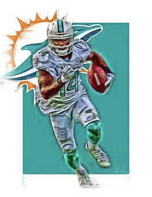 Jarvis Landry Miami Dolphins Oil Art Poster by Joe Hamilton