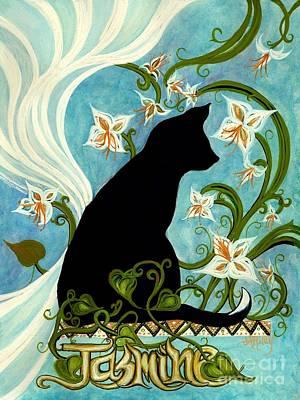 Jasmine On My Mind - Black Cat In Window Poster by Janine Riley