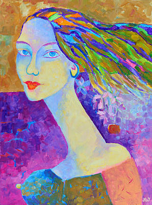 Modigliani Style Portrait Of A Woman Painting Colorful  Poster