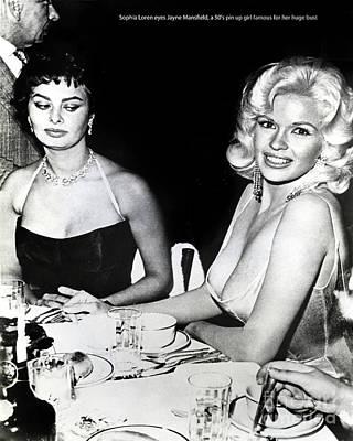 Jayne Mansfield Hollywood  Actress Sophia Loren 1957 Poster