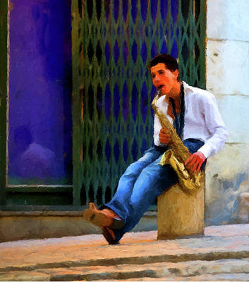 Poster featuring the photograph Jazz In The Street by David Dehner