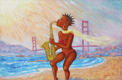Poster featuring the painting Jazz San Francisco by Xueling Zou