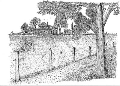 Poster featuring the drawing Jb Farm by Jack G  Brauer