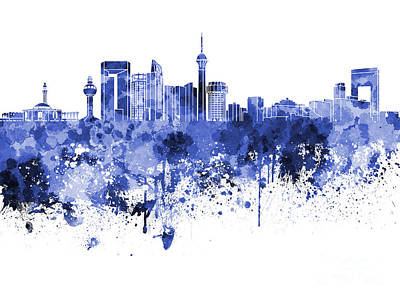 Jeddah Skyline In Blue Watercolor On White Background Poster