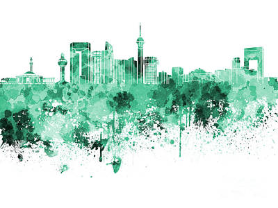Jeddah Skyline In Green Watercolor On White Background Poster